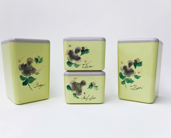 Kitchen Canister Set, Beacon Plastic Canisters, Lime Green Canisters