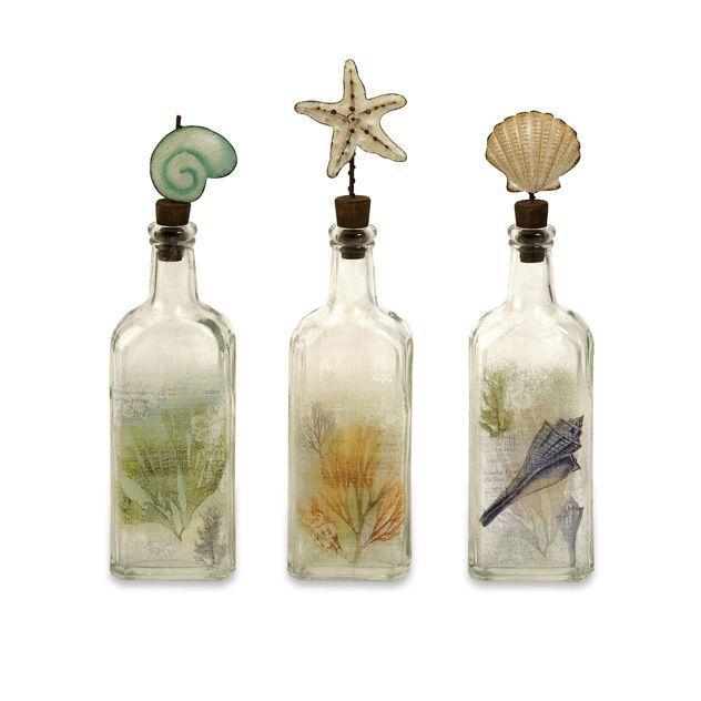 Sea Shell Decorative Glass Bottles Home Pinterest