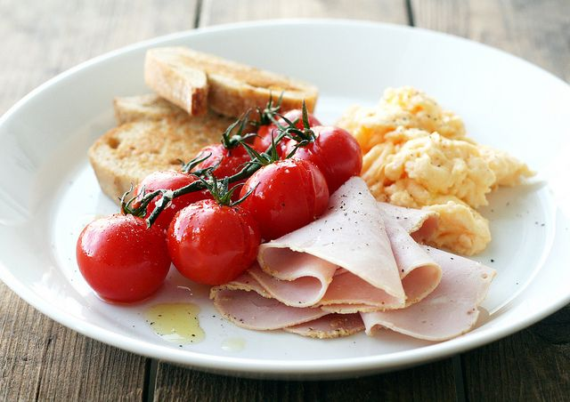 ... oven baked cherry tomatoes ham and the softest parmesan scrambled eggs
