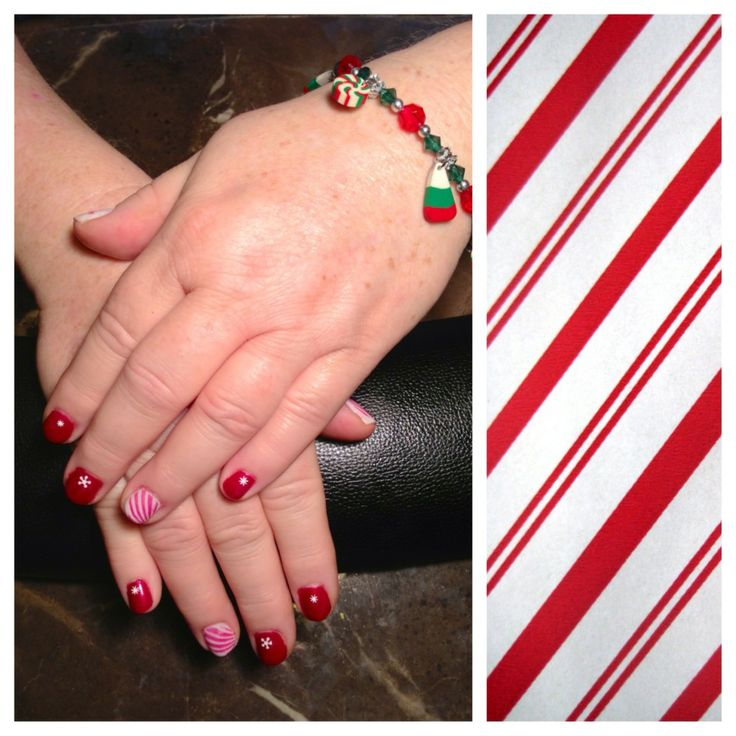 & Cream Puff White Shellac with snow flake decals and Candy Cane ...