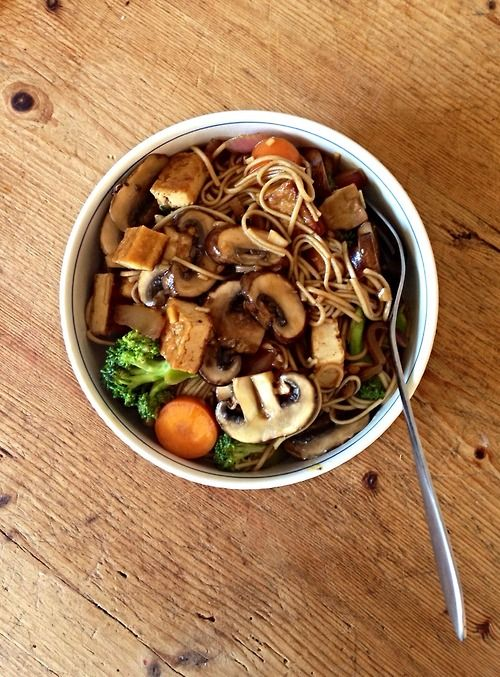 ... , carrot, red onion, garlic and satay tofu in a sesame soy marinade