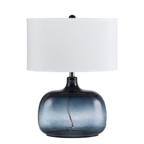 navy blue glass table lamp cal lighting accent lamp table lam. Black Bedroom Furniture Sets. Home Design Ideas