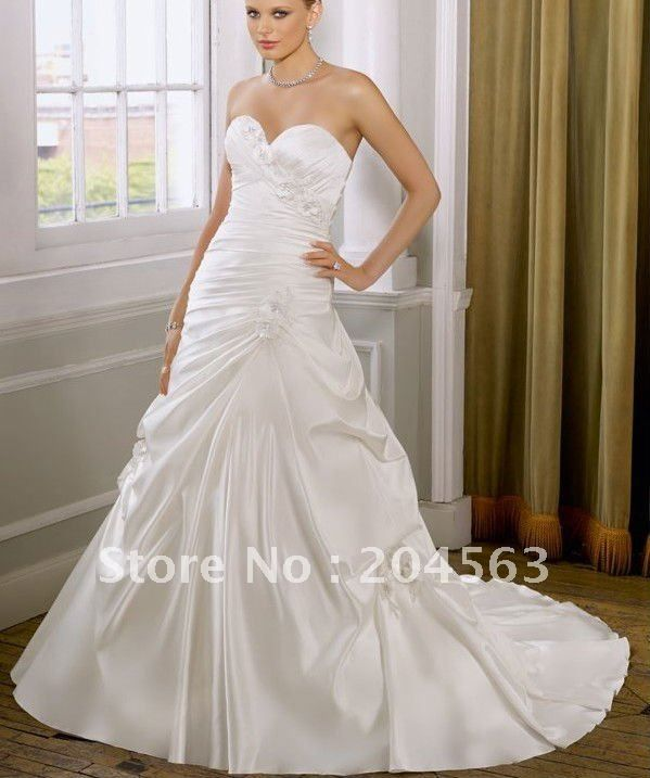 Wedding Dresses Modified A Line : Modified a line wedding gown custom made sweetheart