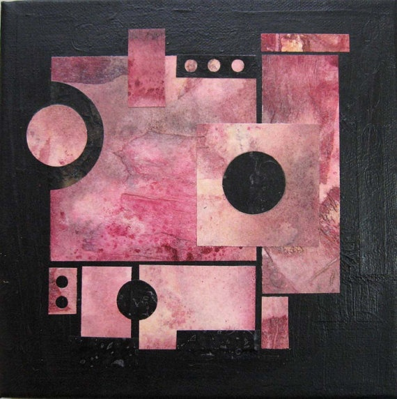 Contemporary Abstract Original Mixed Media Collage by ElisCooke, $60.00