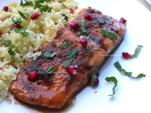 Pomegranate molasses glazed salmon - My Little Expat Kitchen