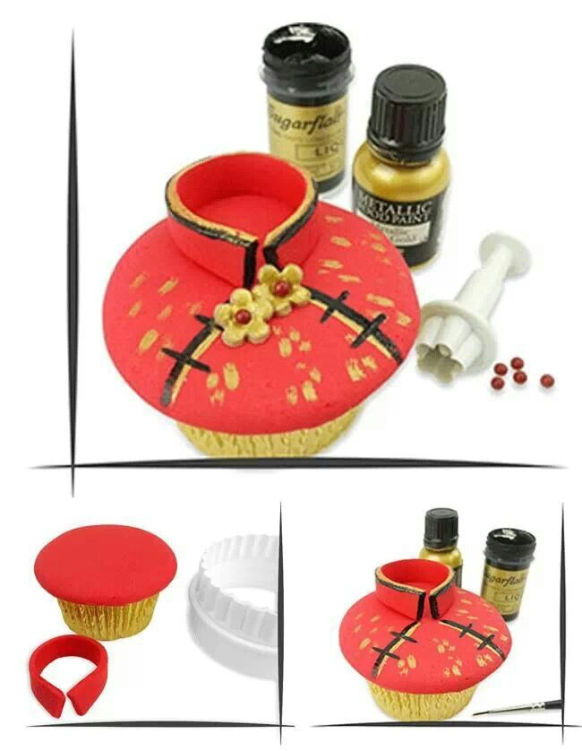 Chinese Cupcake | How to's.... (fondant, cakes, cupcakes) | Pinterest