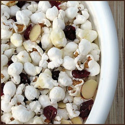 White Chocolate Popcorn with Cranberries & Almonds