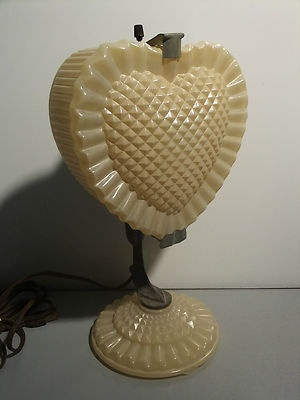 Vanity Dresser Lamp : Rare 1940s Heart Shaped Depression Glass Dresser Vanity Lamp
