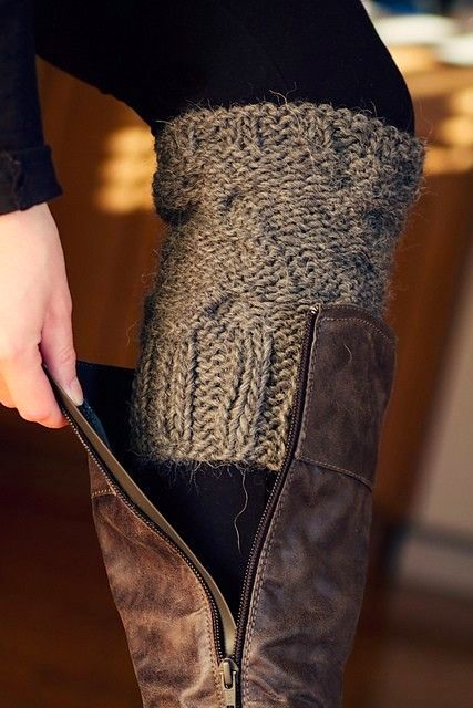 DIY old sweater sleeves into leg warmers.