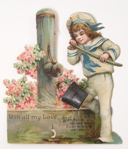 FRANCES BRUNDAGE Valentine Die Cut - Boy at Water Pump METAL BUCKET 1900