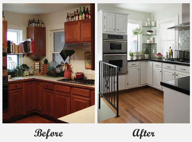 Room Makeover - Kitchen. For more great before and after room makeovers, check out http://decoratingfiles.com/2012/08/room-makeovers/#