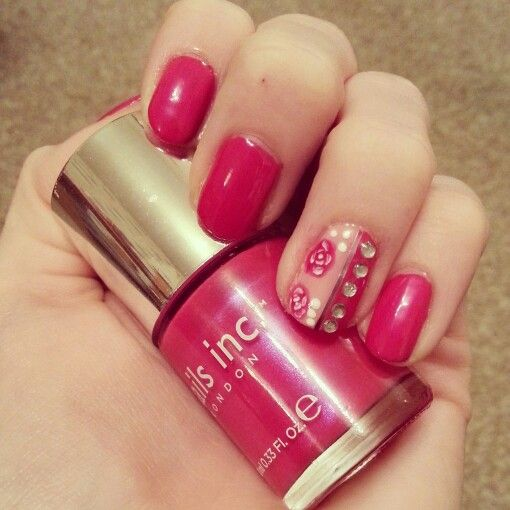 Roses and gems @nails inc | My Nail Art | Pinterest
