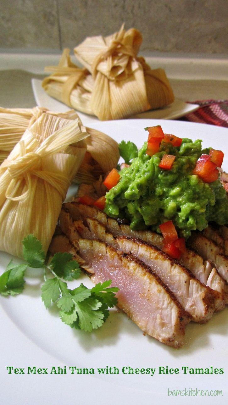 Tex Mex Seared Ahi Tuna with Cheesy Rice Tamales