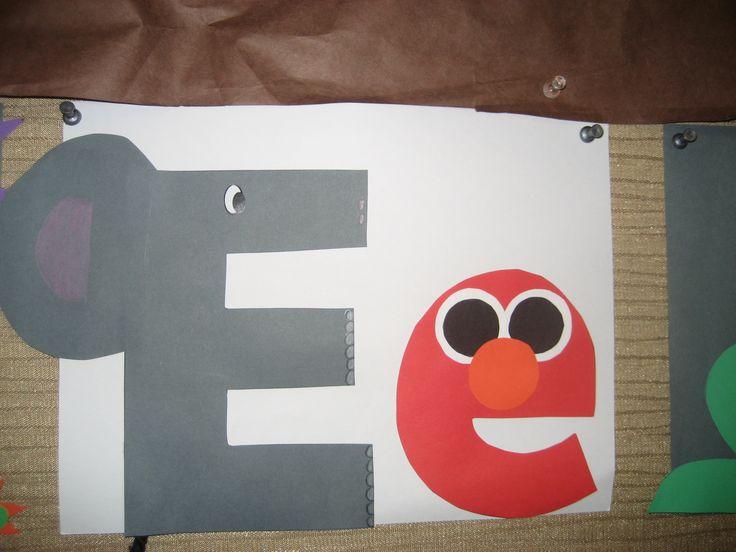 """Ee"" Letter of the week art project: elephant & elmo"