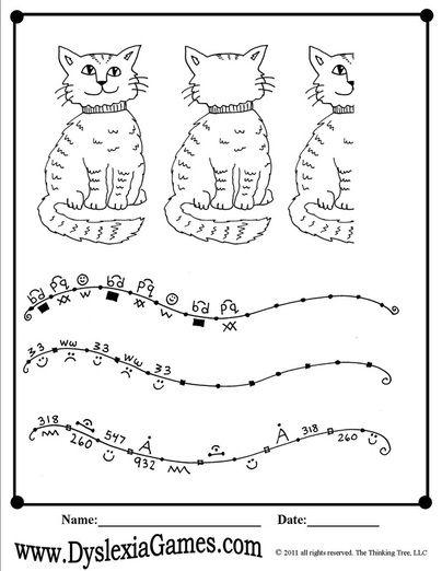 Worksheet for dyslexic children : Cats : Pinterest