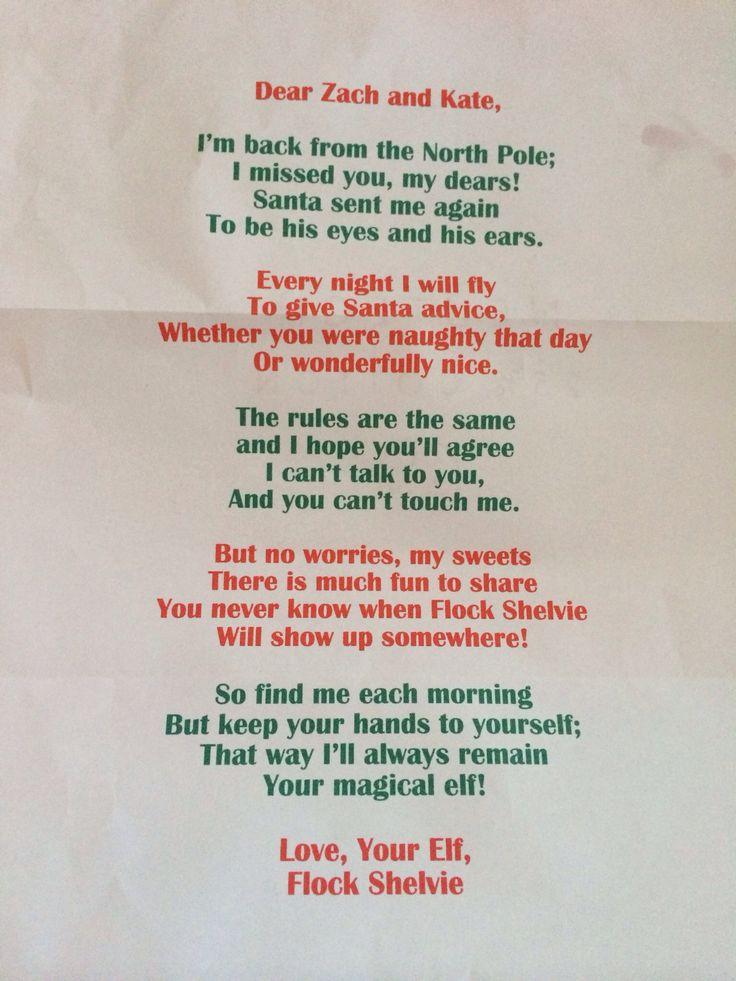Elf on the Shelf - welcome back letter | Christmas | Pinterest