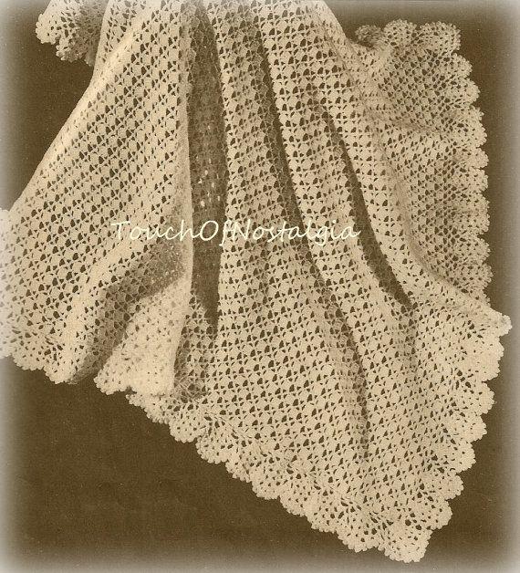 Crochet Patterns For Shawls Vintage : Crochet LACY Baby SHAWL Vintage Crochet Pattern - Pretty ...