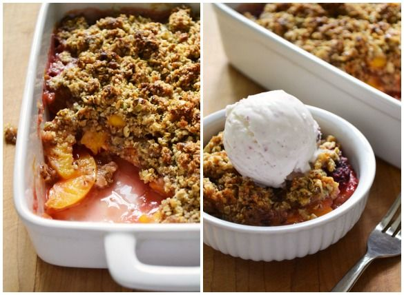 Peach and Raspberry Big Crumb Crumble