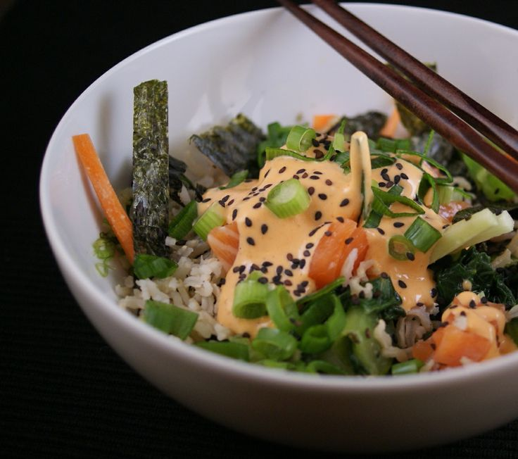 sushi bowl: rice of choice, fresh saute'd veggies, julienned carrots ...