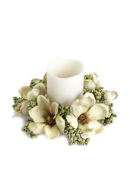 Magnolia with berry candle ring green for the home pinterest