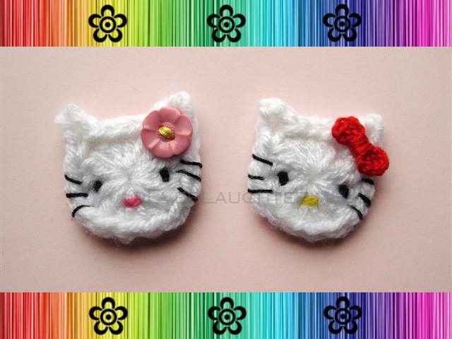 Crochet Hello Kitty Cat applique free pattern