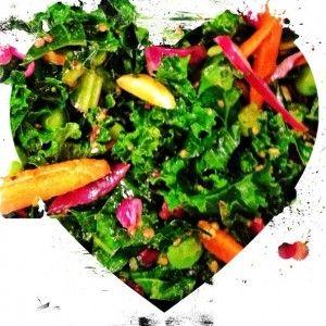 Kale Salad with Asian dressing (tamari, sesame oil, lemon juice ...