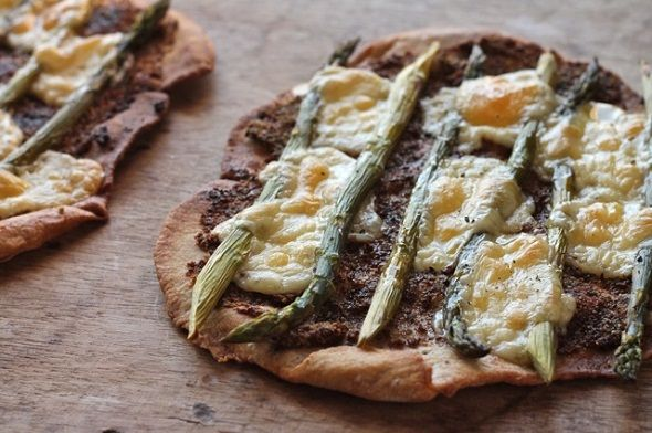 Old-Fashioned Mustard, Gouda, and Asparagus Flatbreads