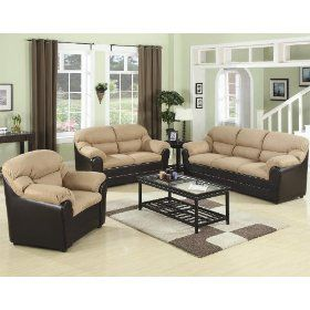2pc Sofa Set with Mocha Microfiber in Dark Brown Leather Like