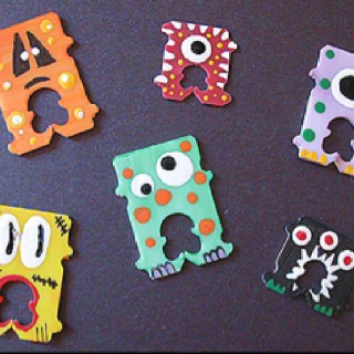 A fun way to use up those bread bag clips. Paint them up into little monsters!