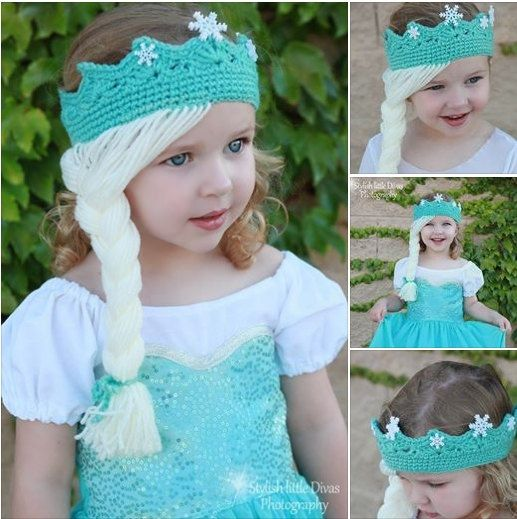 Crochet Elsa Hair : Frozen Elsa Princess Crown / Tiara Hair Wig by olicrafts on Etsy