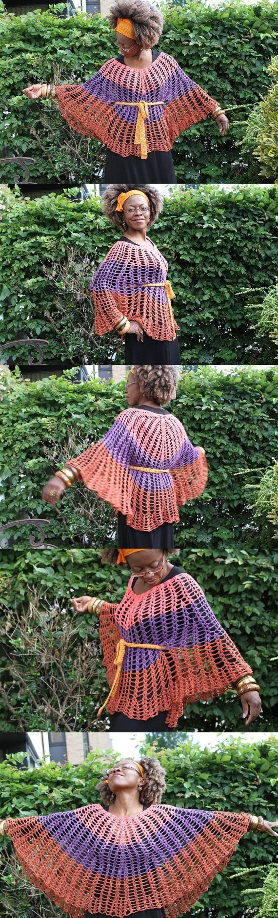Poncho de ganchillo / tricolor superior de encaje (si se usa con el cinturón) .vintage mira colores son el óxido n rosa, púrpura.  100% hilo de bambú: Raíces.