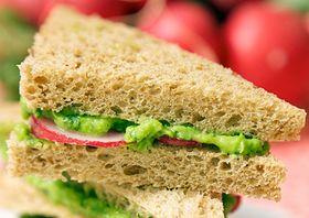 Green Pea Avocado Radish Sandwiches | for the vegans | Pinterest