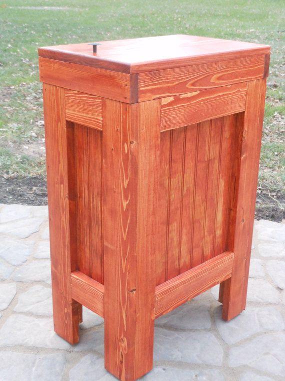 Wood Wooden Kitchen Garbage Can Trash Bin Wastebasket Gunstock Stain