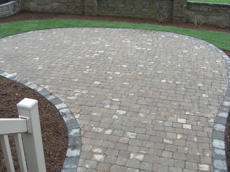 Grey border pavers patio pinterest for Pinterest patio pavers