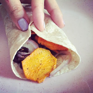 roasted yam wrap with caramelized onions, black beans, and almond ...