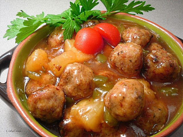 ... Meatballs - ground beef, ground pork, green pepper and pineapple