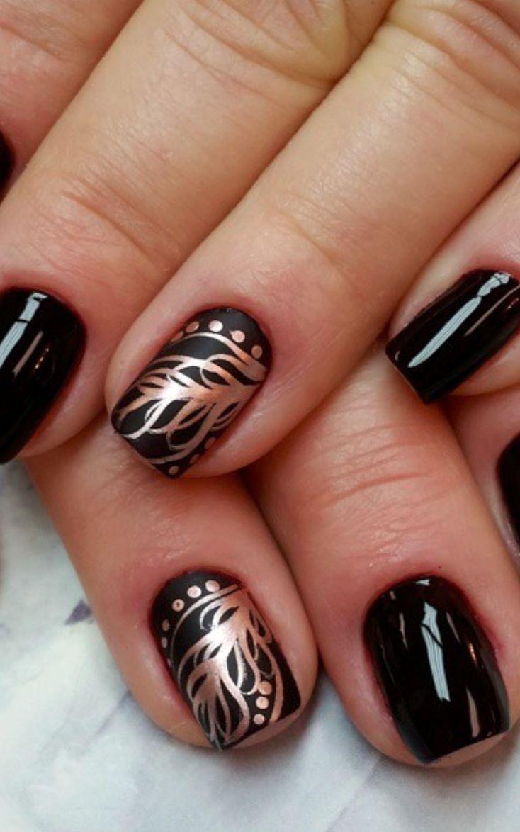 Golden feather Nail Art Design / Awe Fashion Success Nails Inspiration