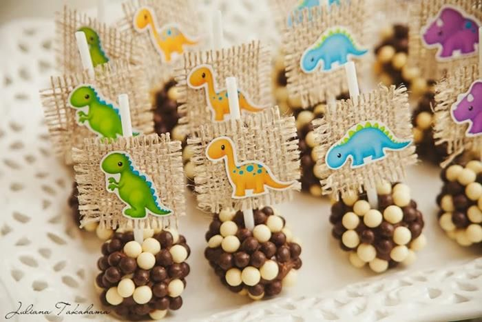 Cake Pops at a Dinosaur Themed 1st Birthday Party with Lots of Cute ...