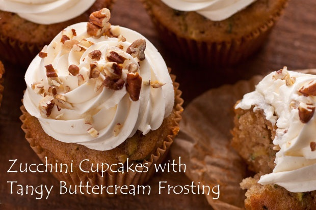 Zucchini Cupcakes with Tangy Buttercream Frosting