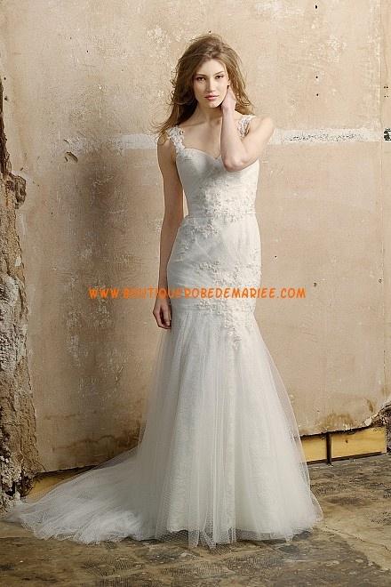Robe de mariée 2013 sirène en tulle applique bretelles