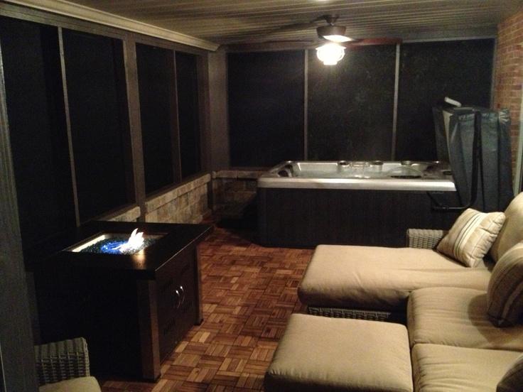 screened in patio hot tub room bathroom remodel ideas pinterest. Black Bedroom Furniture Sets. Home Design Ideas
