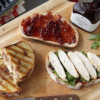Chicken, Brie, and Arugula Panini with Strawberry Balsamic Jam