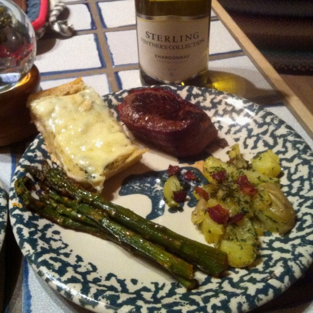 Bacon wrapped filet, Asparagus, Garlic smashed potatoes, Gruyere ...