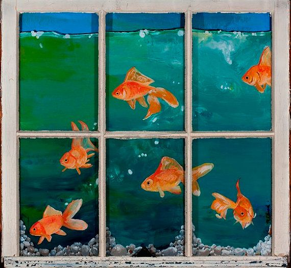 Fish tank reverse painted with acrylic on old window for Painting on glass windows with acrylics