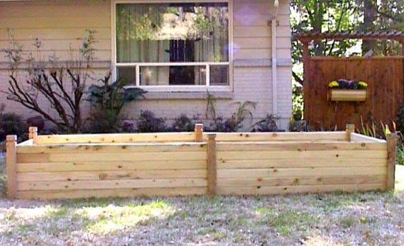 Raised flower bed design ideas willow raised beds cedar for Wooden flower bed ideas