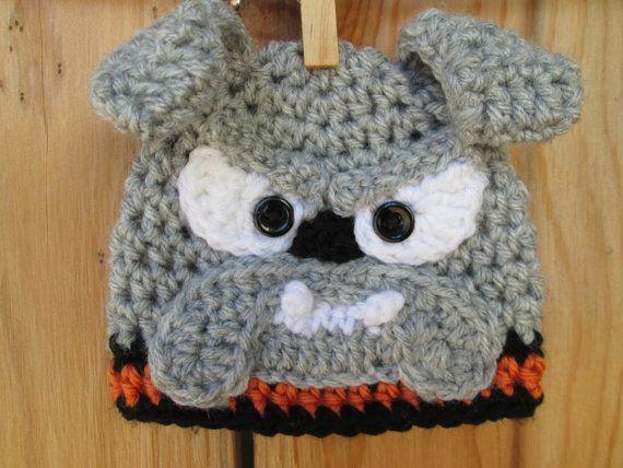 Free Pattern For Crochet Bulldog : Crochet Bulldogs beanie