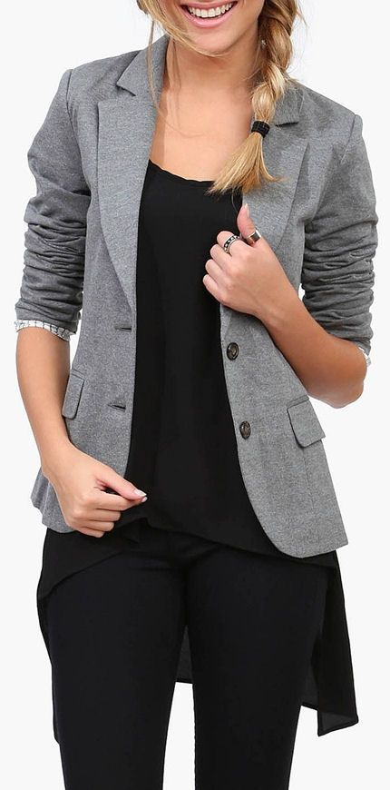 Heather Grey Blazer ♥ love this fun business casual look!