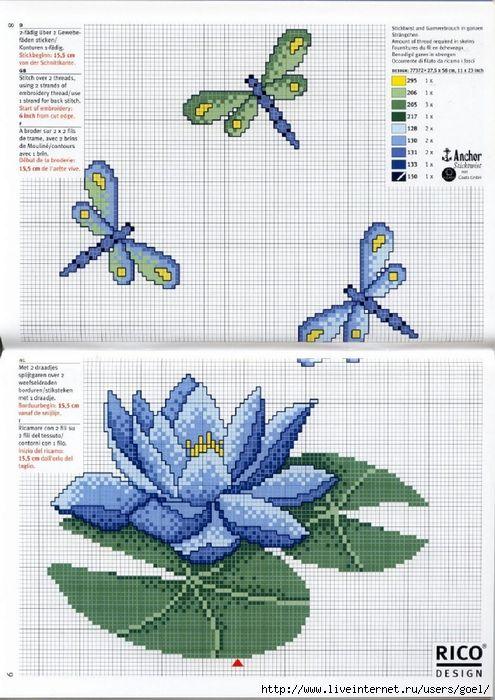 Водяная лилия схема для вышивки