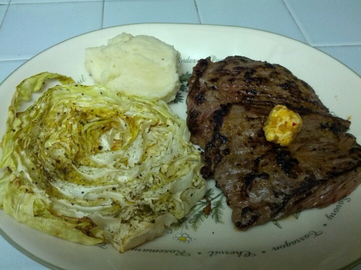 Steak with kimchi butter, roasted cabbage, & mashed potato