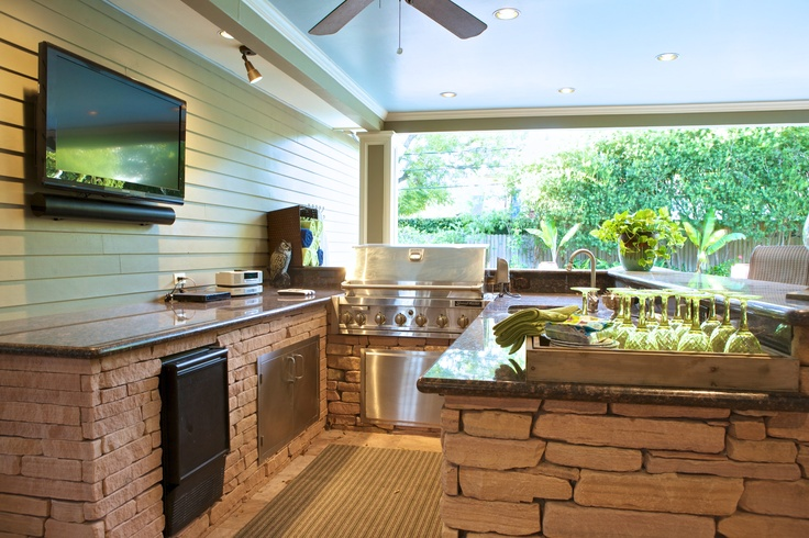 Outdoor kitchen outdoor spaces pinterest for Outdoor kitchen ideas pinterest